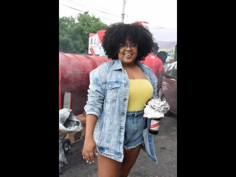 Laurelle Taylor was cool and comfortable in denim at the Red Stripe Red Hills Road Food and Beer Take Over.