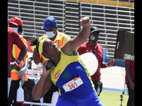 Leonie Samuels (Rusea's) winner of the Class One Girls shot put at the ISSA/GraceKennedy Boys and Girls Athletics Championships at the National Stadium on Wednesday, May 12, 2021.