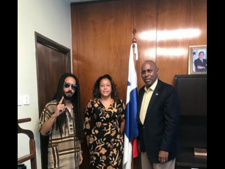 From left: Jean Alexandro Rios, also known as 'DJ Chiqui Dubs'; Michelle Williams, regional director, Caribbean and Latin America, VP Records; and Dr Lasford Emilio Douglas, ambassador of the Republic of Panama to Jamaica.