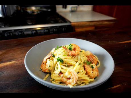 Savour the creamy delights of this scrumptious shrimp scampi.