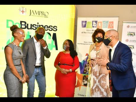 From left: Kerry-Ann Henry, vice-principal, administration and resource development at Edna Manley College of the Visual and Performing Arts (EMCVPA); Maurice Hamilton, founder and CEO of The SMC Group; Dr Trudy-Ann Barrett, acting principal, EMCVPA; Diane