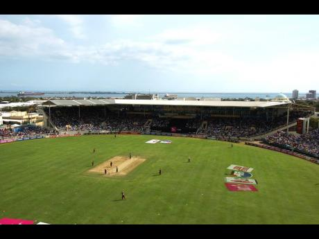 A view of the George Headley Stand at Sabina Park with the Kingston Harbour in the background.