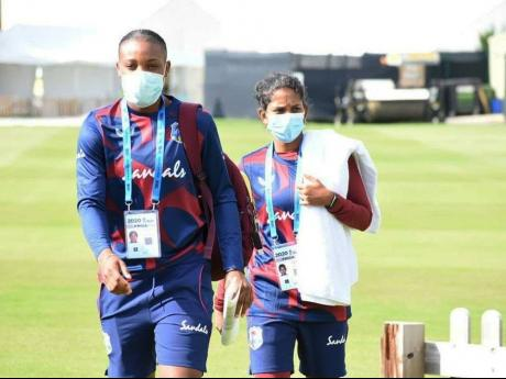 West Indies Women cricketers Chinelle Henry (left) and Karishma Ramharack.