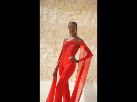 Miqueal-Symone in a red number was added to her wardrobe for versatility.