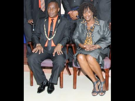 Portmore Mayor Leon Thomas with Councillor Yvonne McCormack in happier times.