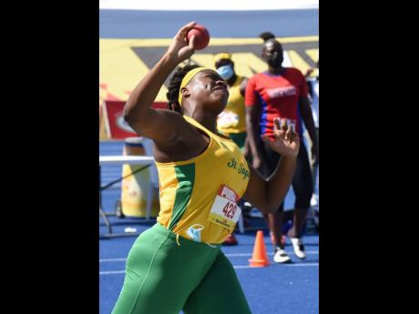St Jago High School's Jamora Alves, winner of the Class One Girls' Shot Put final at the ISSA/GraceKennedy Boys and Girls' Athletics Championships at the National Stadium.