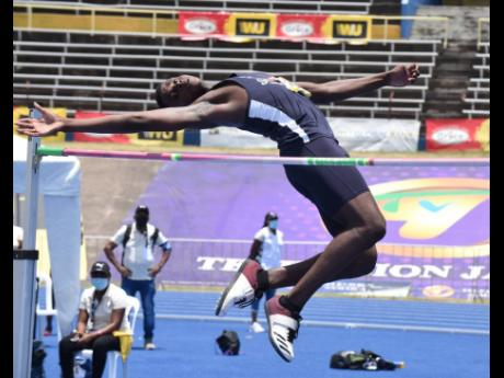 Jaidi James from Jamaica College on his way to winning the Class Three High Jump event with a clearance of 1.86 metres at the ISSA/GraceKennedy Boys and Girls' Athletics Championships at the National Stadium on Thursday, May 13, 2021.