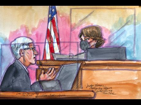 This courtroom sketch shows Apple CEO Tim Cook being questioned by US District Court Judge Yvonne Gonzalez Rogers, on Friday, May 21, 2021.