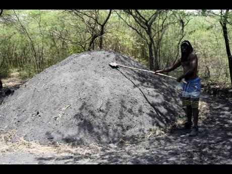 Yeon Henry tends to his coal kiln in Hartlands, St Catherine, where selling coal is big business. Henry used to be a chicken farmer, but when the pandemic hit was unable to buy chicken feed and thus turned to burning coal.