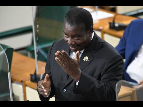 Transport and Mining Minister Robert Montague gestures during his Sectoral Debate presentation on Wednesday.