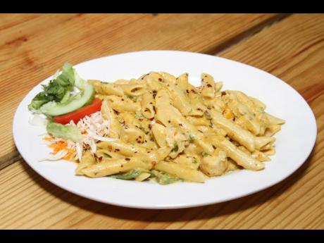 The shrimp pasta is a customer favourite at White Sands Beach Seafood Restaurant in Rocky Point, Clarendon.