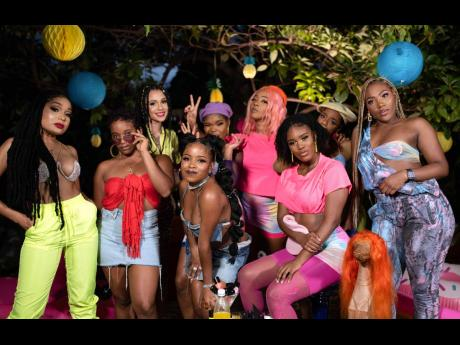 ABOVE: From left: Dr Donielle Bowie, DJ Shacia Payne, Shannon Andrade-Bucknor, Amanyea Stines, Shamara 'Inspire' Spencer, Toni 'Happy Feet' O'Meally, Catherine Reid, Kara Lee and Tashnie Hinds brought their 'top girl' attitude to the set.