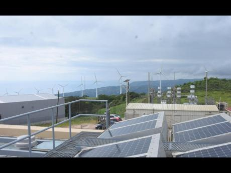 Wigton's wind turbines as viewed from the rooftop of the company's Rose Hill, Manchester complex.