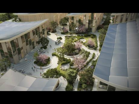 A courtyard in the Woven City, which will serve as a home to full-time residents and researchers who will be able to test and develop technologies in a real-world environment.
