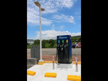 An electric vehicle charging station is among the facilities provided by the Boot service station in Drax Hall, St Ann.