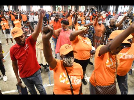 PNP supporters at the PNP NEC election meeting for race of chairman and general secretary at Jamaica College in Kingston in November 2020.