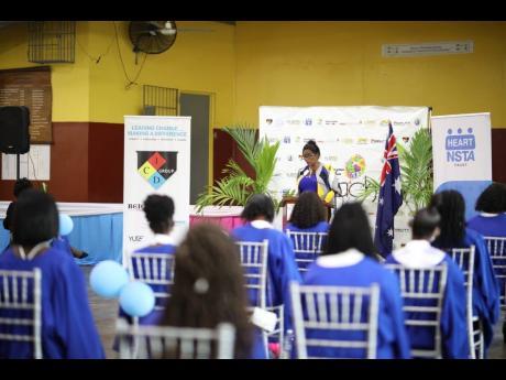 Trench Town Polytechnic College principal Dr Dosseth Edwards-Watson addressing YUTE Teach graduates.