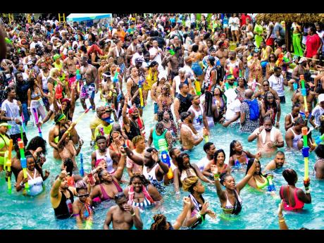 In this August 2019 photograph, patrons are seen at Wet N Wild at Kool Runnings Adventure Park in Negril
