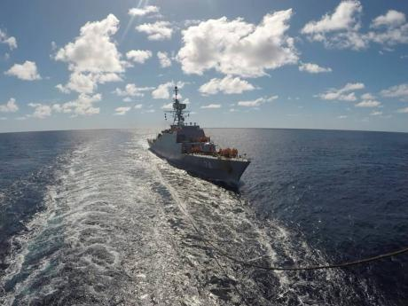An Iranian warship moves in the Atlantic Ocean.