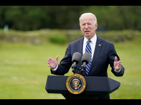 President Joe Biden speaks about his administration's global COVID-19 vaccination efforts ahead of the G-7 Summit yesterday in St Ives, England.