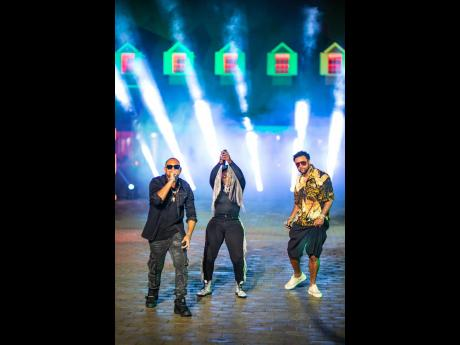 From left: Sean Paul, Spice and Shaggy perform during the shoot for their appearance on 'Jimmy Kimmel Live!'.