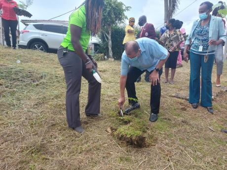 Minister of Industry, Investment and Commerce and Member of Parliament for Northeast Manchester, Audley Shaw and senior director of Western Zonal Operations at the Forestry Department, Stephanie Cameron (left) plant a tree at the Percy Junor Hospital on Ju