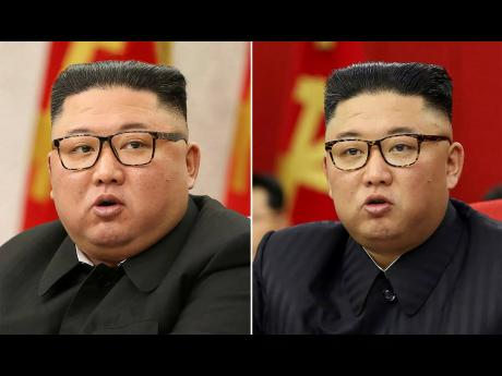 This combination of file photos provided by the North Korean government, shows North Korean leader Kim Jong-Un at a Workers' Party meetings in Pyongyang, North Korea, on February 8 (top) and June 15 (bottom).