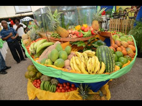Locally grown fruits and vegetables on display at Denbigh Agriculture Show in 2016.