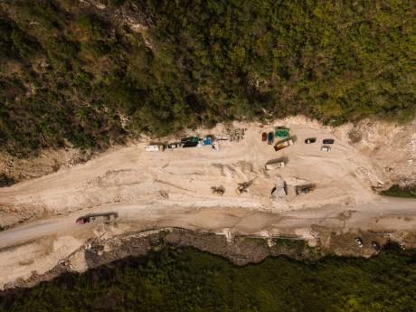 FILE PHOTOS An aerial photograph of the construction under way for the Southern Coastal Highway Improvement Project.