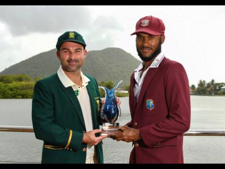 West Indies captain Kraigg Brathwaite (right) and his South Africa counterpart Dean Elgar ahead of the start of their second Test match, to be played in St Lucia starting today.
