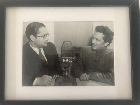 In this black and white photo, father of Asif Ahmad, Salahuddin Ahmad (left), is seen interviewing Pandit Ravi Shankar, Indian sitar virtuoso and one of the best known exponent of Indian classical music.