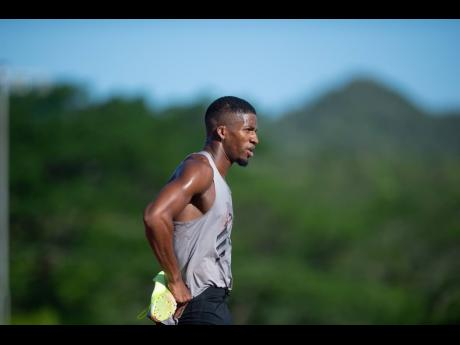 Demish Gaye cools down during a Sprintec training session at G.C. Foster College of Physical Education and Sports in St Catherine on Tuesday, June 8, 2021.