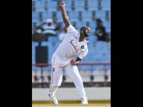 West Indies bowler Kemar Roach in action against South Africa on day three of their second Test match, being played at the Daren Sammy National Stadium in St Lucia yesterday.