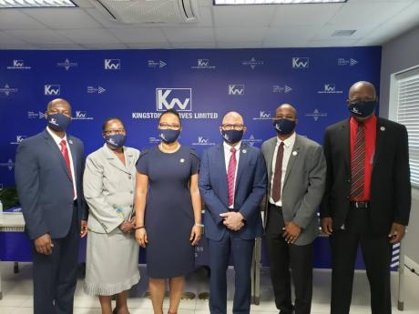The team participating in the Kingston Wharves Limited's (KWL) annual general meeting, held virtually last Thursday. From left: KWL CEO Mark Williams; Allison Bernard, director, PricewaterhouseCoopers (PWC); KWL Group CFO Clover Moodie; KWL Chairman Jeff