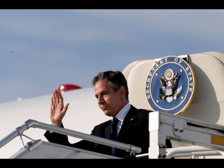 US Secretary of State Antony Blinken arrives at the Berlin Brandenburg Airport in Schonefeld, Germany, on Wednesday, June 23.