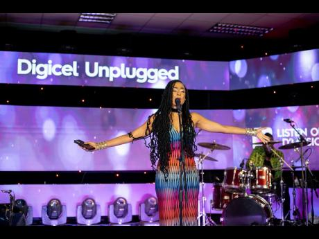 Reggae songstress Alaine delivered a heartfelt and touching set as she celebrated the wonder of fatherhood at a special Father's Day edition of Digicel Unplugged in an eye-catching psychedelic print.