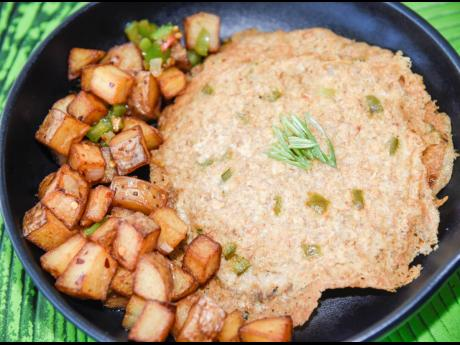 Introducing Oatopia: a vegan omelette made from oats. It is served with breakfast potatoes.