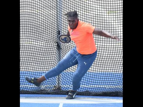Discus thrower Fedrick Dacres in action at the JAAA All-Comers Meet at the National Stadium on Saturday, June 19.
