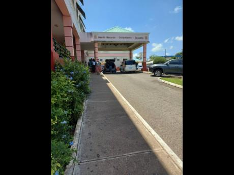 Patients leaving the outpatient department of Mandeville Regional Hospital on Thursday after approximately 90 per cent of junior doctors failed to show up for work.