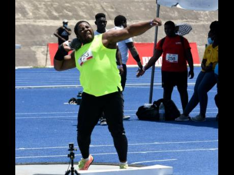 Shot putter O'Dayne Richards in action at an Olympic Destiny Series meet on Saturday, May 29.
