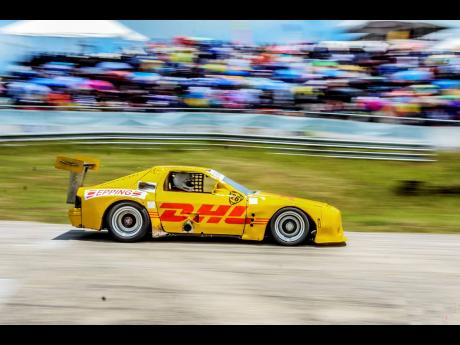 One of the many colour schemes of the Mazda RX7 of veteran racer Peter Rae.
