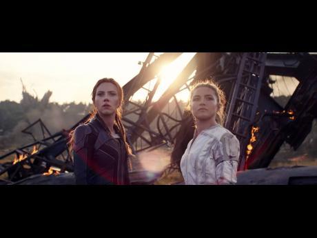 Scarlett Johansson (Natasha Romanoff) (left) and Florence Pugh (Yelena) in Marvel Studios' action-packed spy thriller 'Black Widow'.