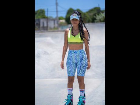 Naomi doesn't just surf, she rollerblades, too.