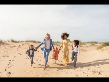 Vanessa Ford and her Swedish beau Johan Schiller and their children.
