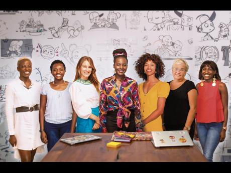 The Kukua Education Ltd. team (from left): Magdalyne Kanjejo, Clara Njeru, Lucrezia Bisignani, Lupita Nyong'o, Vanessa Ford, Claudia Lloyd, and Sylvia Mwita.