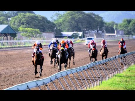 Eroy (left), ridden by Anthony Thomas, wins the three-year-old and up Overnight Allowance over nine furlongs and 20 metres at Caymanas Park, yesterday.