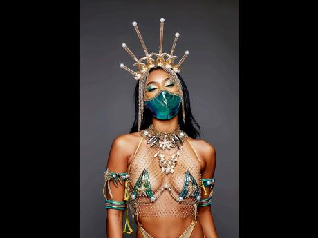 The Kalypso costume designed by Jamaica's Jessica Campbell comes with the option of a mask, coordinated with the aquamarine colour of the section.