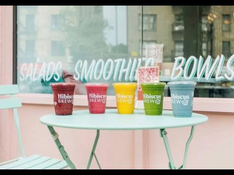 A rainbow of smoothies available at Brooklyn cafe Hibiscus Brew.