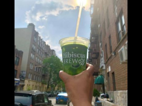 Iced matcha with oat milk from Hibiscus Brew.Iced matcha with oat milk from Hibiscus Brew.