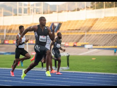 Former 100m world champion Yohan Blake in action at a JAAA Qualification Trials event at the National Stadium in St Andrew on Saturday, March 13.Former 100m world champion Yohan Blake in action at a JAAA Qualification Trials event at the National Stadium i